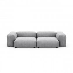 Canapé 2 à 3 places avec accoudoirs Vetsak, velours côtelé couleur gris clair L.273 x H.60 x P.115,5 cm