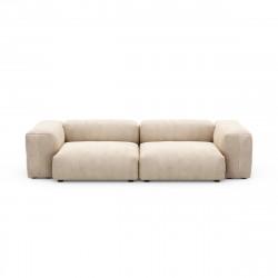 Canapé 2 à 3 places avec accoudoirs Vetsak, velours côtelé couleur sable L.273 x H.60 x P.115,5 cm