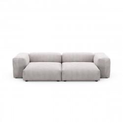 Canapé deux places avec accoudoirs taille L Vetsak, velours côtelé platinium