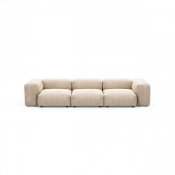 Canapé trois places avec accoudoirs Vetsak, velours côtelé sable