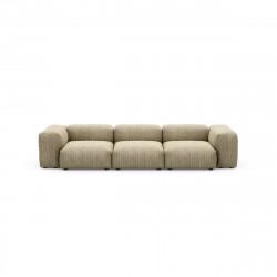 Canapé 3 à 4 places avec accoudoirs Vetsak, velours côtelé vert khaki L.315 x H.60 x P.115,5 cm