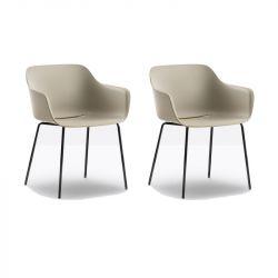 Lot de 2 fauteuils Babila XL 2734, Pedrali, assise noir, pieds noirs