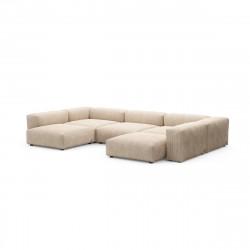 Canapé d\'angle en forme de U Vetsak, velours côtelé couleur sable L.378 x H.60 x P.241,5 cm