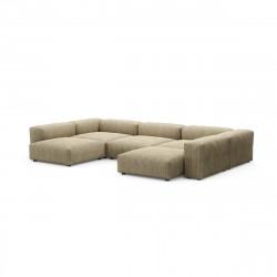 Canapé d\'angle en forme de U Vetsak, velours côtelé couleur vert khaki L.378 x H.60 x P.241,5 cm