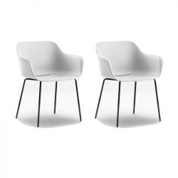 Lot de 2 fauteuils Babila XL 2734, Pedrali, assise blanc, pieds noirs