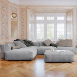 Canapé d'angle Vetsak, velours côtelé gris clair & coussins gris foncé