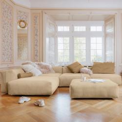 Canapé d'angle Vetsak, velours côtelé sable & coussins caramel
