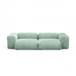 Canapé 2 à 3 places avec accoudoirs Vetsak, velours vert menthe L.273 x H.60 x P.115,5 cm