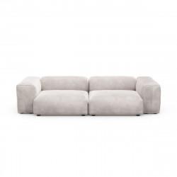 Canapé 2 à 3 places avec accoudoirs Vetsak, velours gris clair L.273 x H.60 x P.115,5 cm