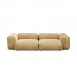 Canapé 2 à 3 places avec accoudoirs Vetsak, velours caramel L.273 x H.60 x P.115,5 cm