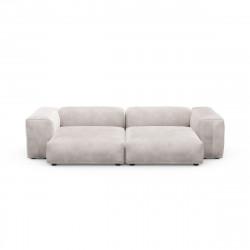Canapé deux places avec accoudoirs taille L Vetsak, velours gris clair