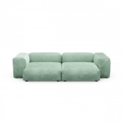 Canapé deux places avec accoudoirs taille L Vetsak, velours vert menthe
