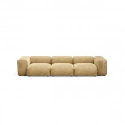 Canapé 3 à 4 places avec accoudoirs Vetsak, velours caramel L.315 x H.60 x P.115,5 cm