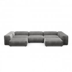 Canapé d\'angle en forme de U Vetsak, velours gris foncé L.378 x H.60 x P.241,5 cm