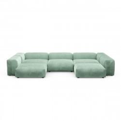 Canapé d'angle en forme de U Vetsak, velours vert menthe