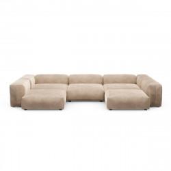 Canapé d\'angle en forme de U Vetsak, velours gris \'stone\' L.378 x H.60 x P.241,5 cm