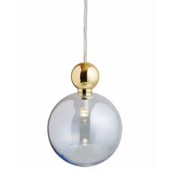 Suspension Uva, Ebb&Flow, bleu topaze, diamètre 10 cm, câble transparent, boule en laiton doré