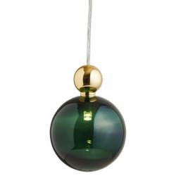 Suspension Uva, Ebb&Flow, vert, diamètre 10 cm, câble transparent, boule en laiton doré