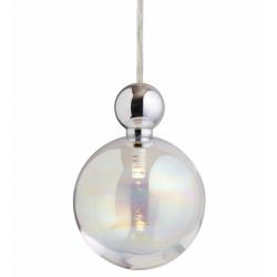 Suspension Uva, Ebb&Flow, couleur nacré, diamètre 10 cm, câble transparent, boule en laiton argenté