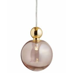 Suspension Uva, Ebb&Flow, rose fumé, diamètre 10 cm, câble transparent, boule en laiton doré
