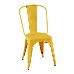 Lot de 2 chaises A Brillant, Tolix jaune moutarde