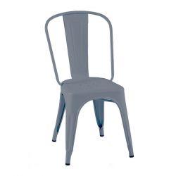 Lot de 2 chaises A Inox Brillant, Tolix bleu provence