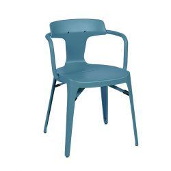 Chaise T14 Inox Brillant, Tolix bleu provence