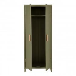 Rangement vestiaire B2 haut perforé, vert olive, fine texture, Tolix, 80 x 50 x H192,5 cm