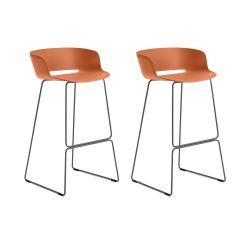 Lot de 2 tabourets Babila 2748, orange, pieds acier noir, Pedrali, hauteur d'assise 74,5 cm