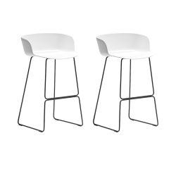 Lot de 2 tabourets Babila 2748, blanc, pieds acier noir, Pedrali, hauteur d'assise 74,5 cm