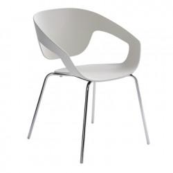 Chaise deco Vad, Casamania blanc ral 9002 pieds chromés
