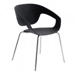 Chaise deco Vad, Casamania noir pieds chromés