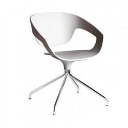 Chaise pivotante Vad, Casamania blanc ral 9002, pieds chromés