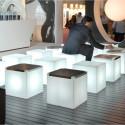 Table basse lumineuse Kubo, Slide Design blanc, plaque inox