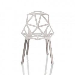 Chaise One empilable, Magis blanc, pieds aluminium poli