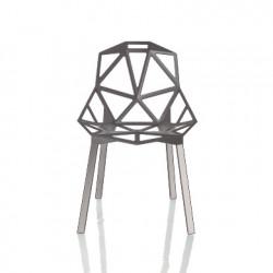 Chaise One empilable, Magis gris anthracite metallisé, pieds aluminium