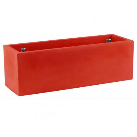 Jardinière rectangulaire grande taille, rouge, avec système de réserve d'eau, Vondom, Longueur 120x50xH50 cm