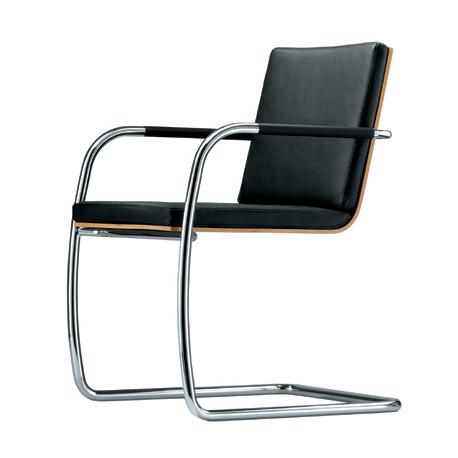 S60 Chaise en cuir, Thonet noir, structure chrome