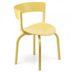404F Chaise en bois avec dossier large, Thonet jaune laqué
