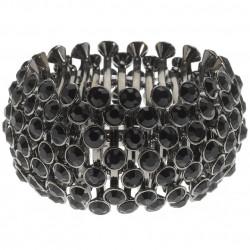 Bracelet large strass, Luca et Zelhia noir, argenté irisé