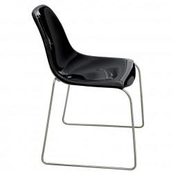 Chaise Day Dream 400, Pedrali noir, pieds chrome