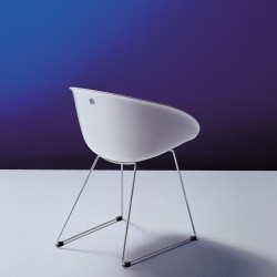 Gliss 920 fauteuil, Pedrali blanc, pieds chrome
