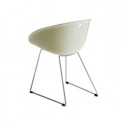 Gliss 920 fauteuil, Pedrali ivoire, pieds chrome