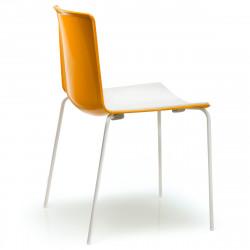 Chaise Tweet 890, Pedrali orange, blanc Pieds vernis