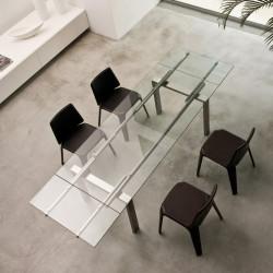 Magic, table à rallonges, Pedrali verre transparent, inox 160x90cm