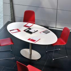 Inox Ellittico, table ovale, Pedrali blanc, pied chrome L160x95cm