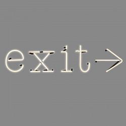 Exit, mot néon, Seletti blanc