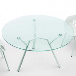 Table ronde Radice Quadra, Fast blanc diamètre 130 cm