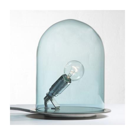 Lampe à poser Glow in a Dome, Ebb & Flow, bleu, base métal argenté, Diamètre 20 cm