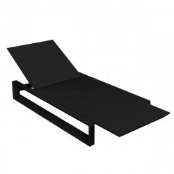 Chaise longue Frame noir mat, avec coussin tissu Silvertex, Vondom